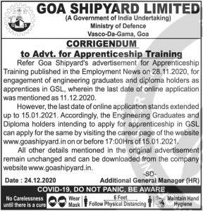 Goa Shipyard Recruitment 2020