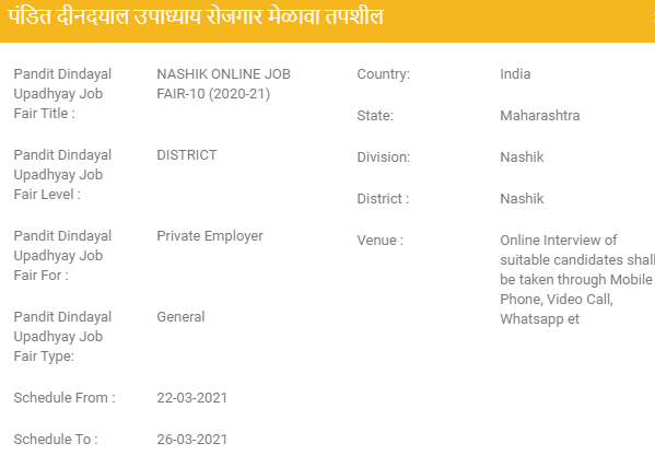 Nashik Job Fairs 2021